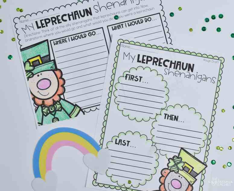 Leprechaun writing brainstorming sheet- theappliciousteacher.com