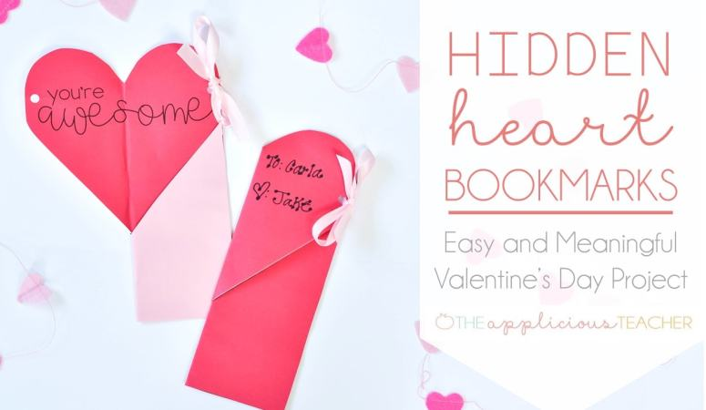 Easy Valentine's Day Classroom Craft: Hidden Heart Bookmarks