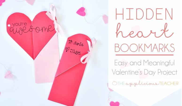Easy Valentine's Day Classroom Craft: Hidden Heart Bookmarks
