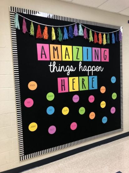 Amazing things happen here bulletin board