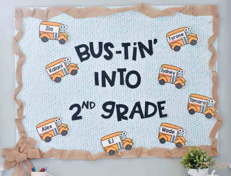 back to school bulletin board: bustin into 2nd grade