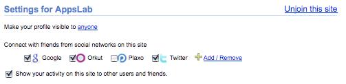 Google Friend Connect Settings
