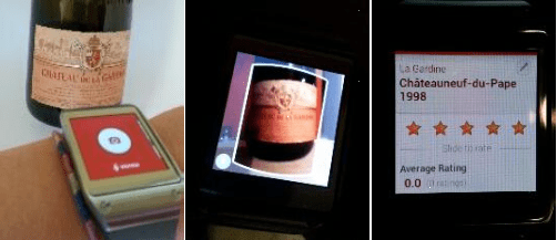 Vivino application on original Gear (no longer supported) Point a watch camera to a label, take a picture and submit to Vivino server, receive wine rating on the watch.
