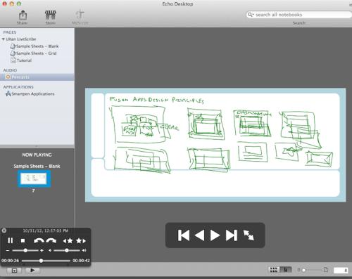 Livescribe Echo pencast viewed from the desktop