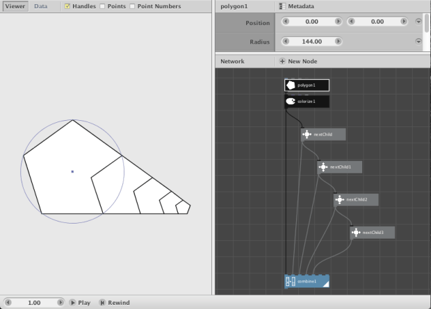 A simple Nodebox network: Recursive Pentagons