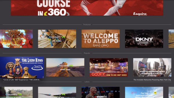 Selection screen for VR content on Littstar Apple TV app