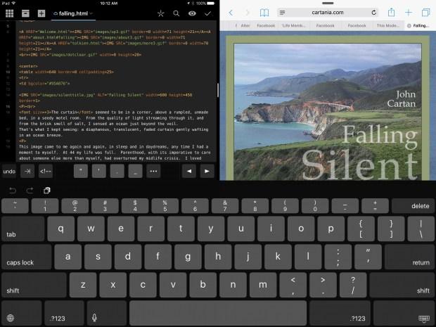 Coda and Safari sharing the screen