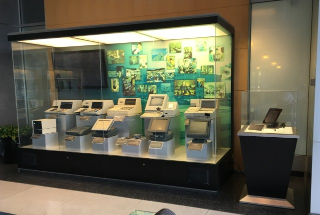 Micros point-of-sales terminals throughout the years. This is in Micros's corporate office in Columbia, Maryland.