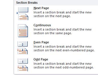 create a section break