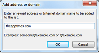add address or domain to Safe Senders List in Outlook