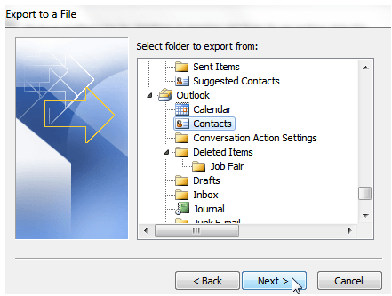 select folder to export from