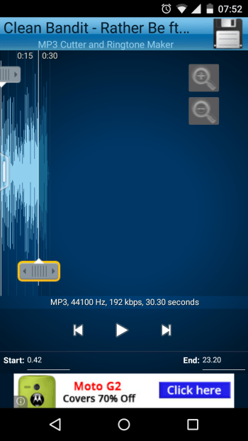 MP3 Cutter and Ringtone Maker Start and End times