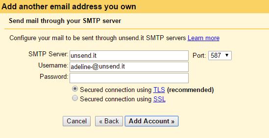 configure unsend it