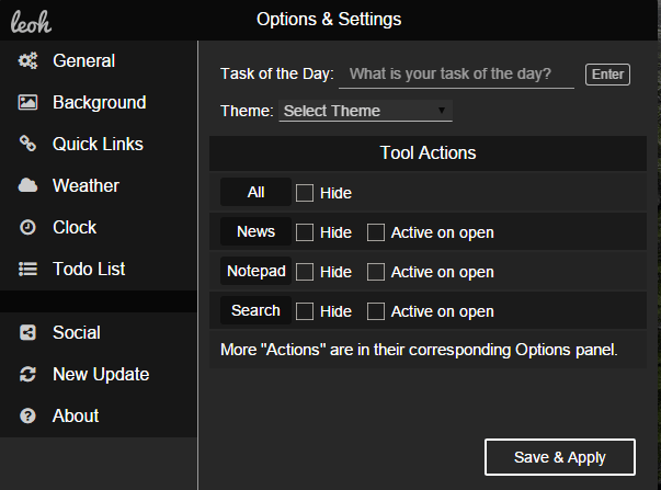 leoh extension options and settings