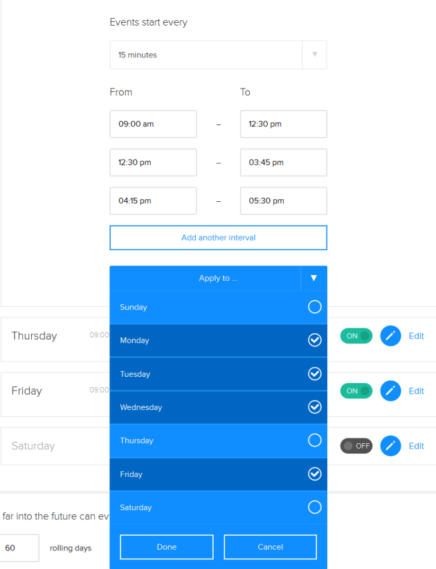 setting availability in calendly