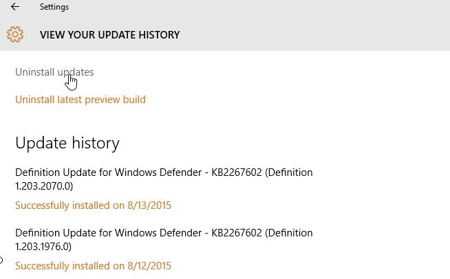 customize windows 10 - uninstall updates