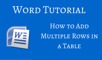 How to Add Multiple Rows in a Table in Word