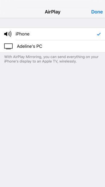 Lonelyscreen option in Airplay screen