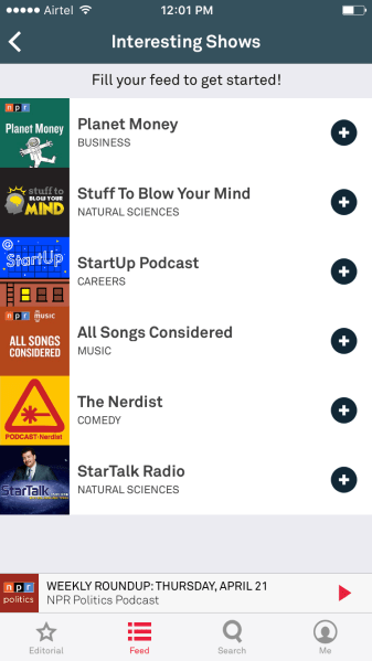 Aurora Podcast Discovery Add to Feed
