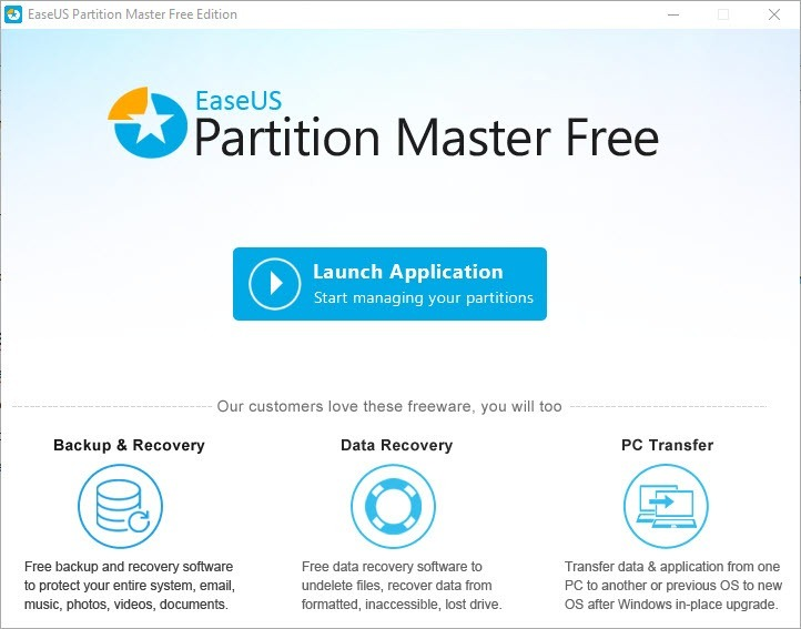 Launch EaseUS Partition Master Free