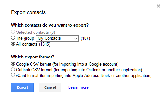 transfer contacts between google accounts