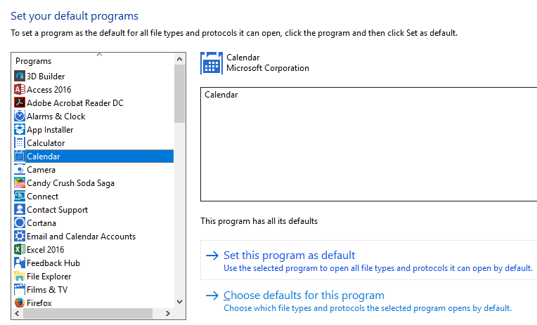 Set your default programs