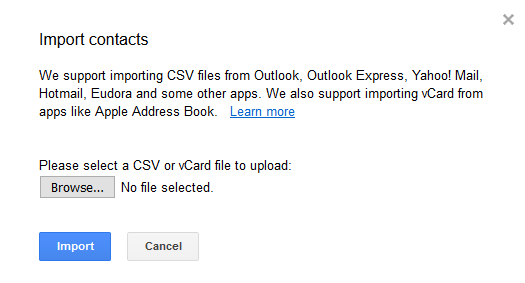 import contacts into google
