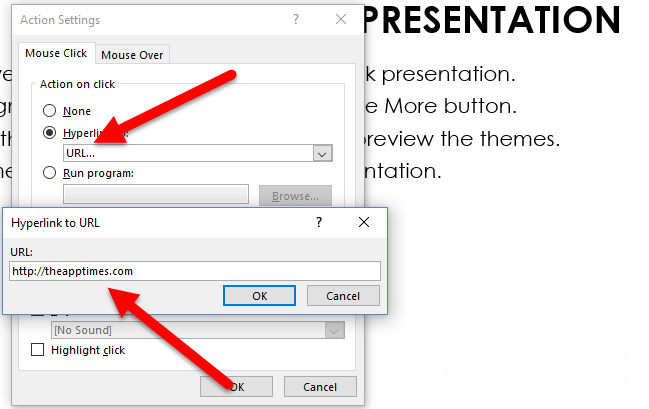 how to add hyperlinks to objects in a presentation