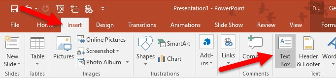 Insert text box in powerpoint