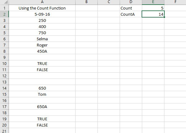 Using the CountA function
