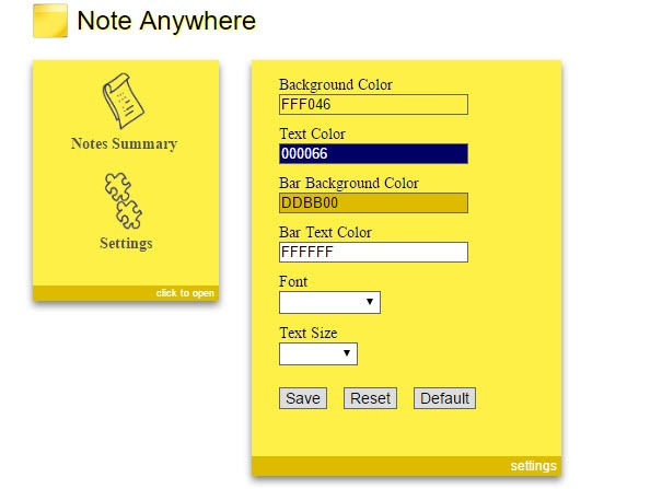 customize note anywhere