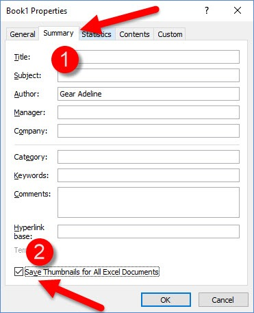 How to Save Thumbnail Preview of Excel Workbooks