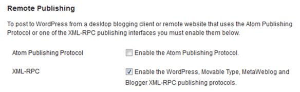 XML RPC checkbox