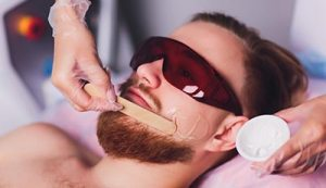 Men beard waxing