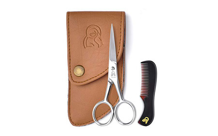 Beard and Mustache Scissors With Comb For Precise Facial Hair Trimming