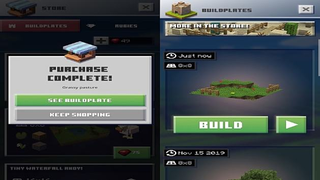 Minecraft Earth buildplate for building a house.