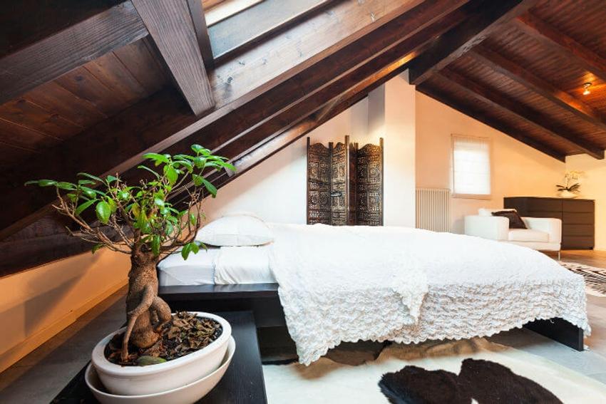 мансарда спальня дизайн фото 2