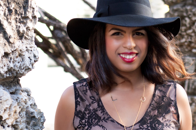 Wearing c/o Jetsetter Hat from MYCA Couture c/o, LOVE Necklace from Furor Moda & Bellatrix Lace Dress