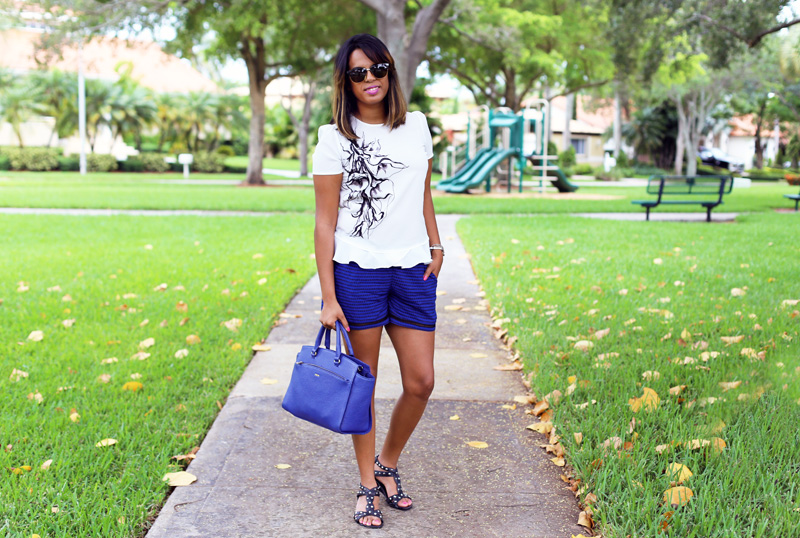 Wearing Doo.ri printed ruffle blouse, Xhiliration (Target) Lattice Detail, Prune Handbag, JS studded sandals, Bebe Shades