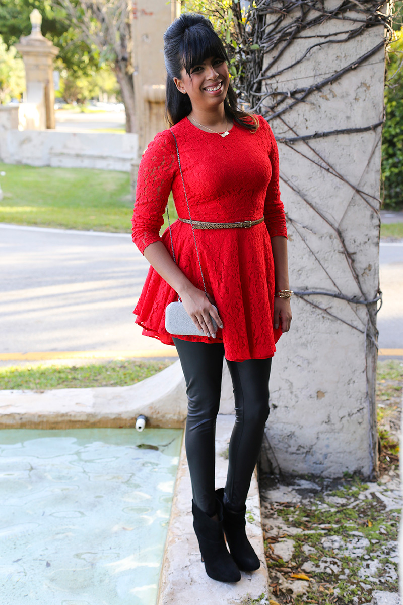 Red lace and leatherette leggings