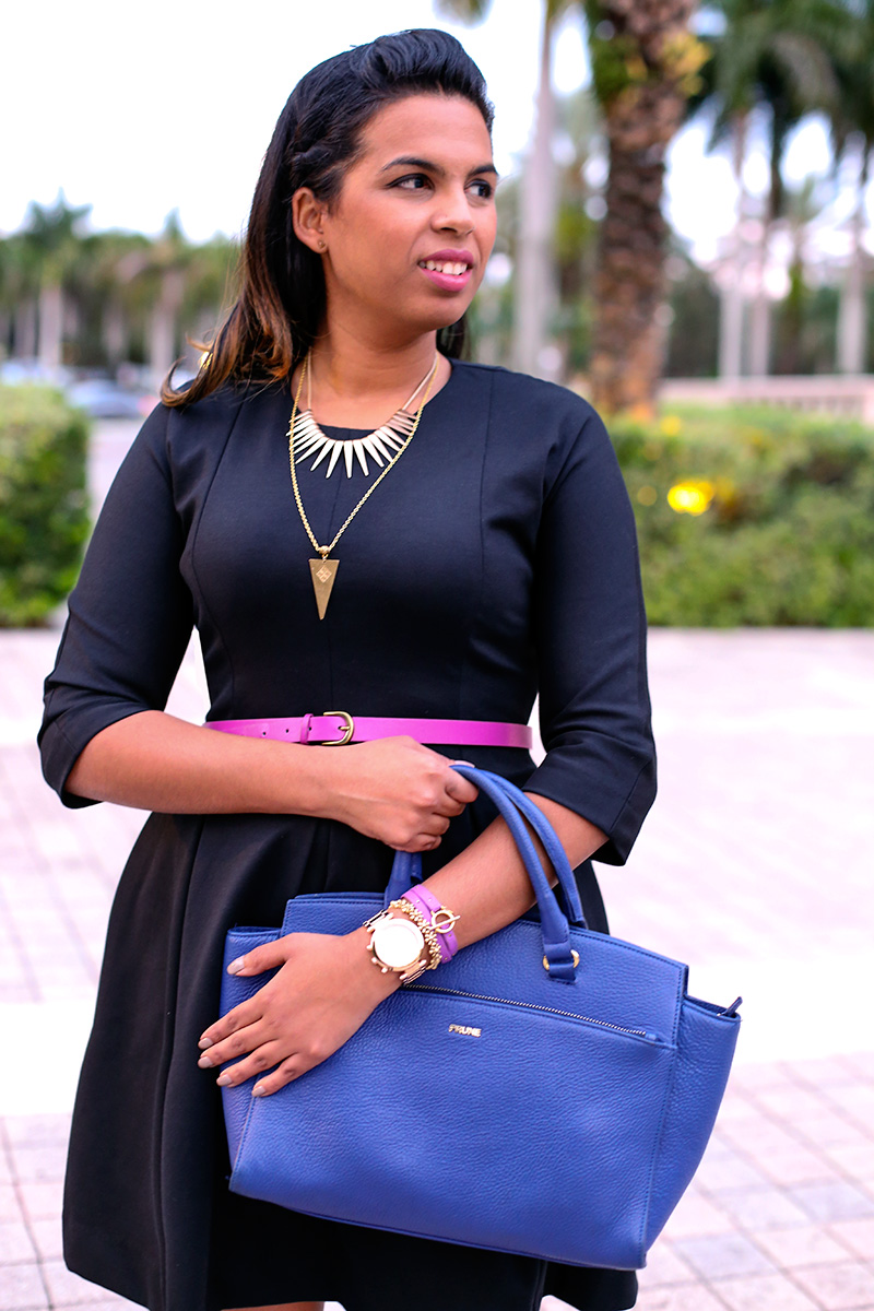 Wearing Gap LBD, Merona Fuscia belt, Prune tote bag