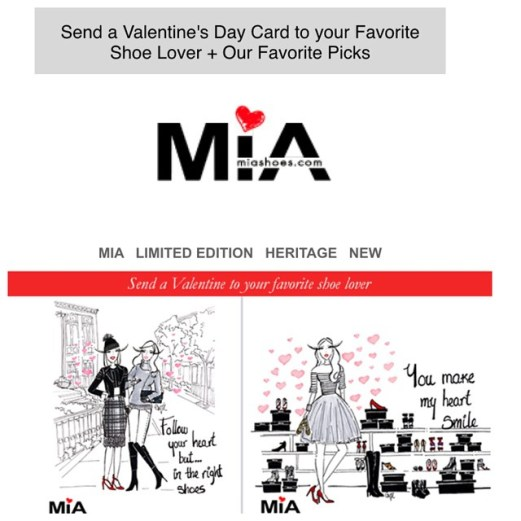 Valentines day 2015 Mia Shoes Newsletter