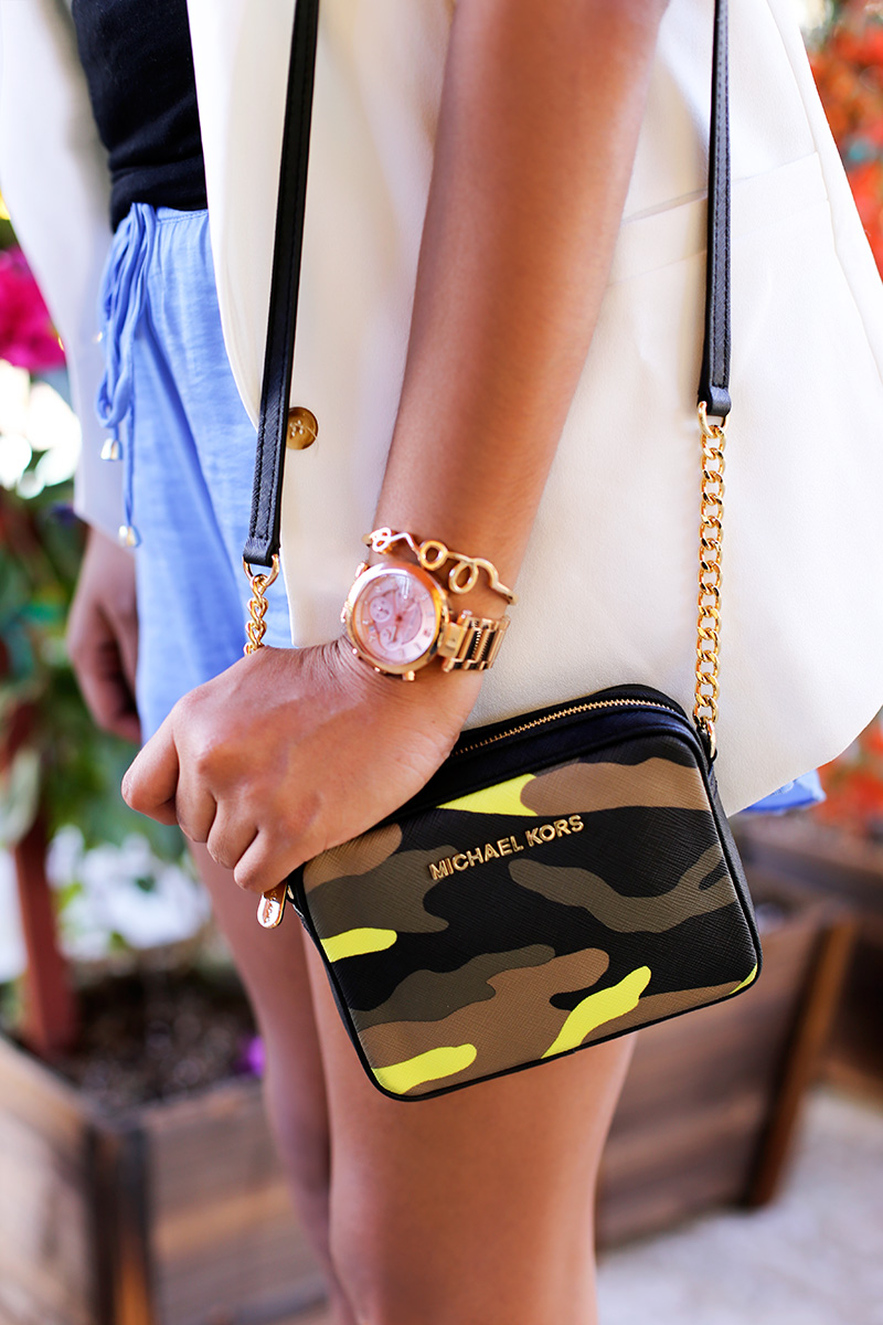 Michael Kors Camo Crossbody, Michael Kors Rose Gold Watch, Forever 21 Love bracelet