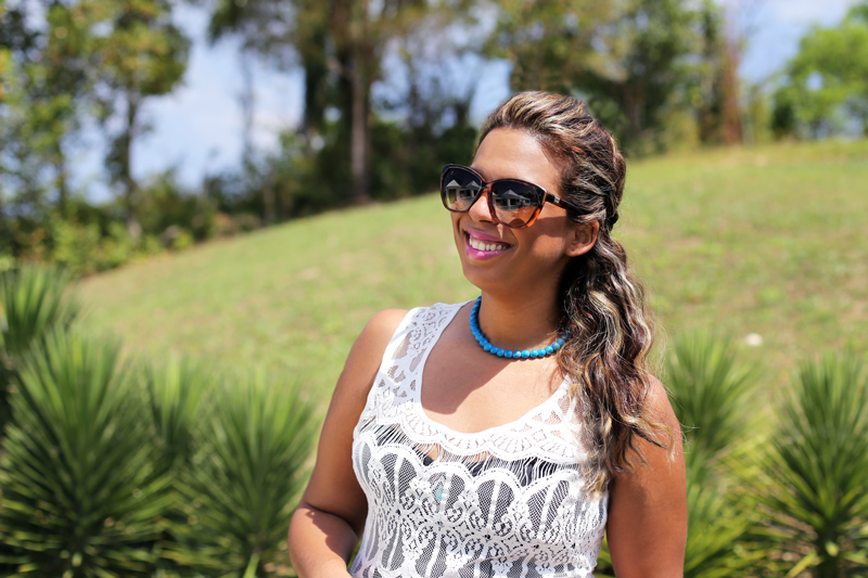 Chloe Sunglasses and local dominican turqouise stone bead necklace