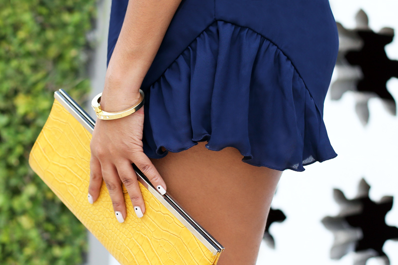 Details: Vintage bracelet and yellow clutch