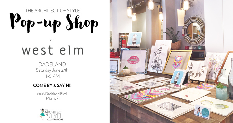 This Saturday at West Elm Dadeland from 1-5pm