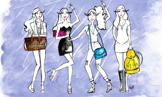 "Racked.com October 2015 Illustration for article ""Handbag at a Bar"" - October 2015"