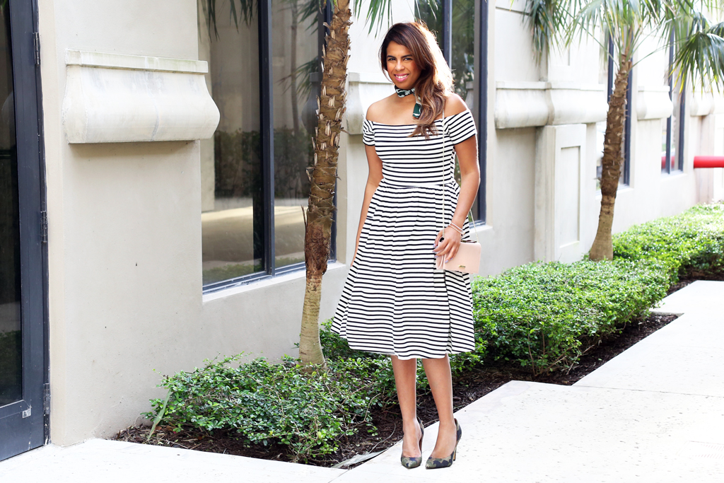Off the Shoulder stripe dress from Who what wear x Target (available here) with Camo Accessories