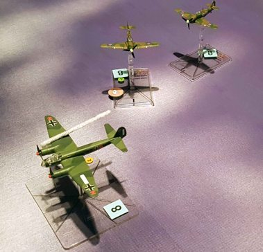 One Dornier was shot down and the other was trailing smoke befire the Me 109s could intercept the Hurricanes.