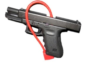 A third-generation 9mm Glock 17 with a cable lock. Photo courtesy of contributor Kencf0618 via Wikimedia Commons https://commons.wikimedia.org